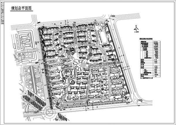 某大型居住区修建性详细规划设计cad施工总平面图(含技术经济指标)-图一