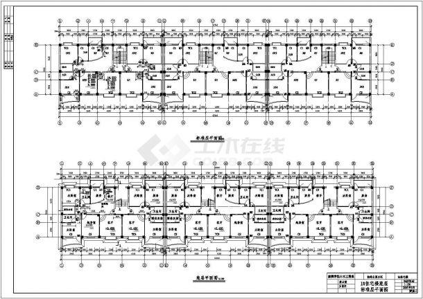 银川市某工厂家属院4300平米7层框架结构住宅楼建筑设计CAD图纸-图二