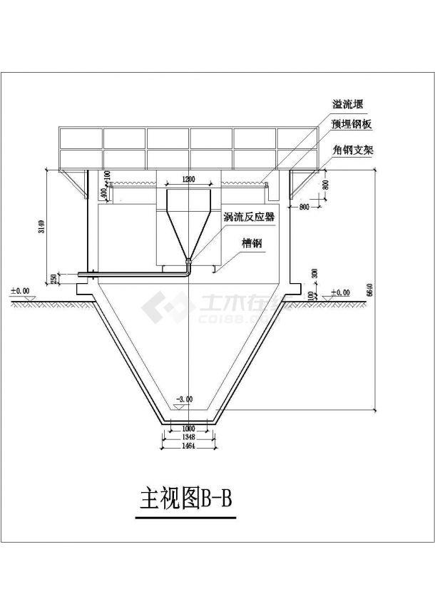 某竖流式沉淀池设计cad施工图纸(钢筋混凝土结构)-图二