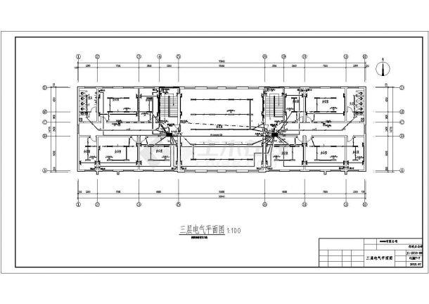 办公楼设计_某公司建筑面积2246.37㎡三层砖混结构办公楼配电设计cad全套电气施工图纸(含设计说明)-图一