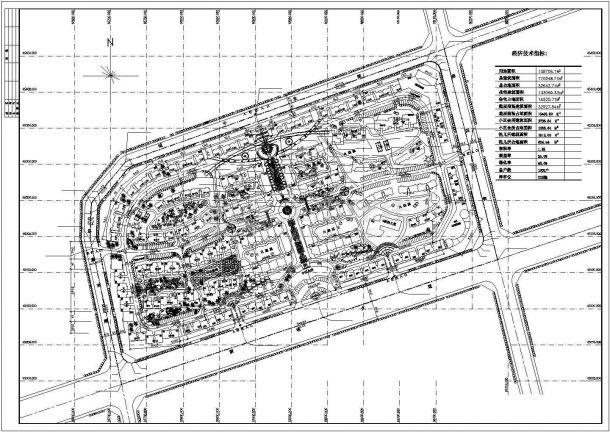 某多层高档居民小区景观绿化规划设计cad总平面施工图(含经济技术指标)-图一