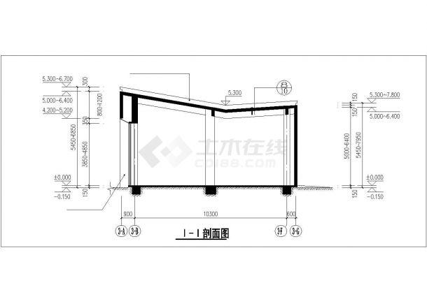 北京市某大型商业街164平米单层框架结构商业楼建筑结构设计CAD图纸-图二