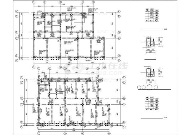 烟台市春河路四层框架结构商业楼全套结构设计CAD图纸-图一