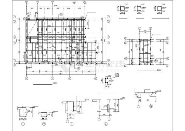烟台市春河路四层框架结构商业楼全套结构设计CAD图纸-图二