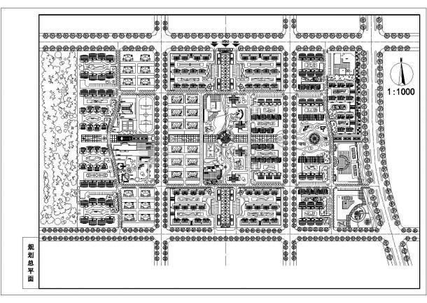 某高品质多层居民小区绿化规划设计cad总平面方案图-图一