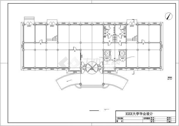 办公楼设计_某地四层办公楼建筑施工设计cad图纸(建筑结构CAD图纸、结构计算书、施工组织、施工进度计划表、施工平面图等)-图二