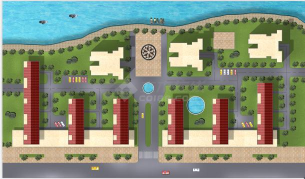 经典建筑妖体环境规划设计cad施工平面图(带效果图)-图二