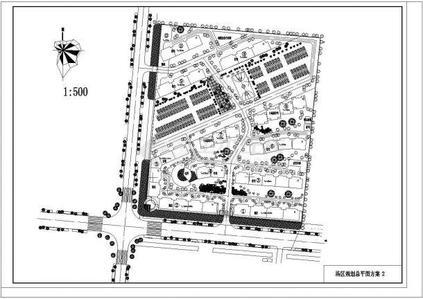 某新建多层住宅小区规划设计cad总平面方案图(含2套方案设计)-图二