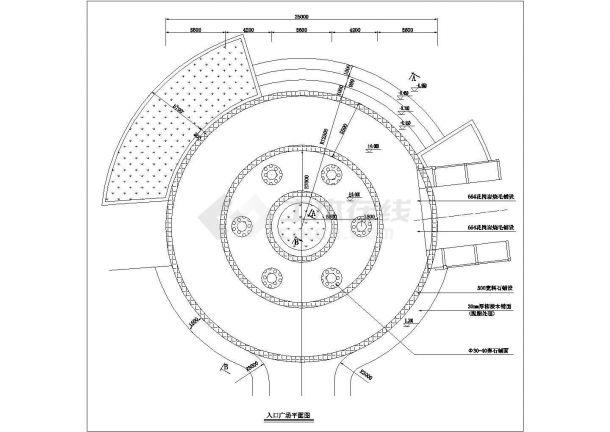 某圆形入口广场规划设计cad总平面施工图-图一