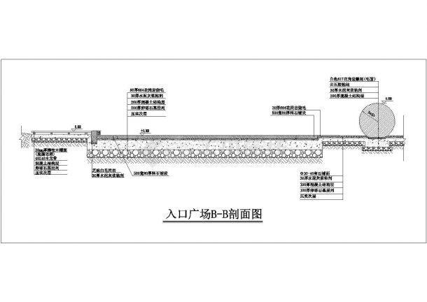 某圆形入口广场规划设计cad总平面施工图-图二