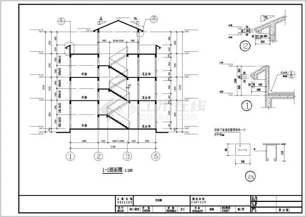 成都市度某假村400平米3层框架结构独栋别墅建筑设计CAD图纸(含夹层)-图二