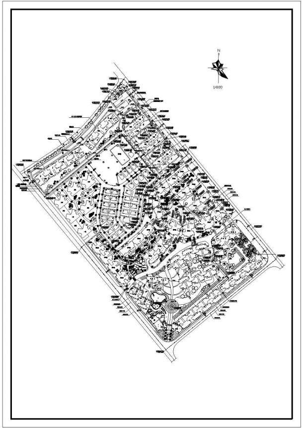 某高级多层住宅小区详细景观规划设计cad总平面方案图-图一