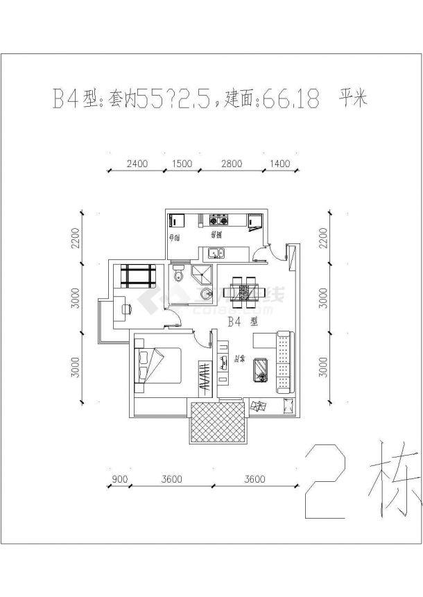 装修设计江都某小区内二三房经典户型平面图CAD图-图一