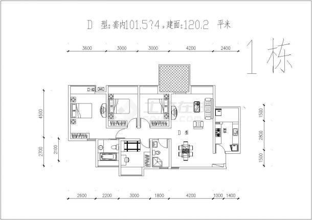 装修设计江都某小区内二三房经典户型平面图CAD图-图二