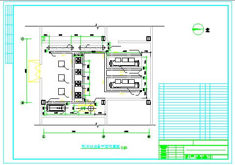 水冷螺杆机制冷机房cad设计图-图一