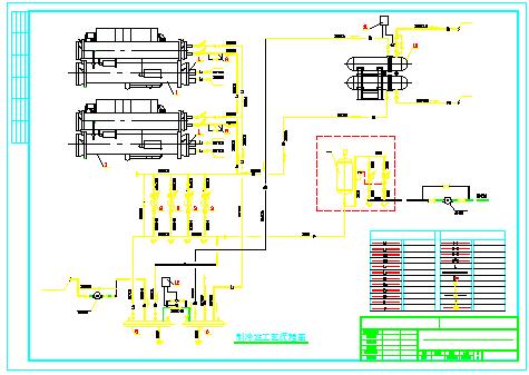 水冷螺杆机制冷机房cad设计图-图二