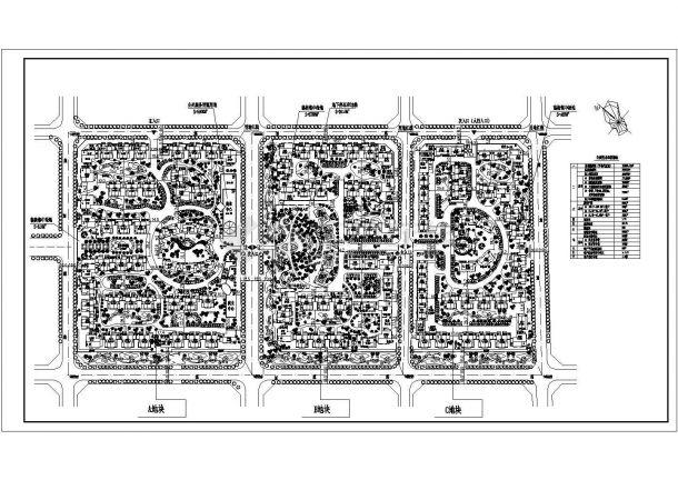 某矩形地块多层住宅小区景观规划设计cad总平面方案图(含主要技术经济指标)-图一