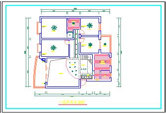 一整层住宅室内装修设计方案cad施工图-图二