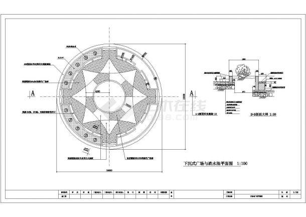 某下沉式广场与跌水池设计cad施工平面图(标注详细)-图一