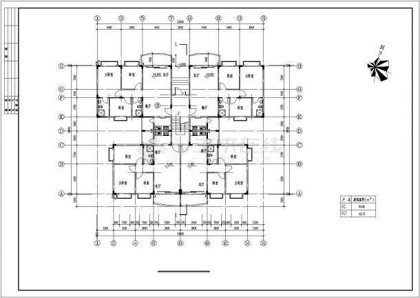 郊区多层住宅楼全套建筑设计施工cad图纸(含各层平面图)-图二