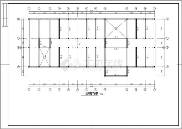 某三层砖混结构综合教学楼(高11米)设计cad建筑方案图(含结构设计)-图一
