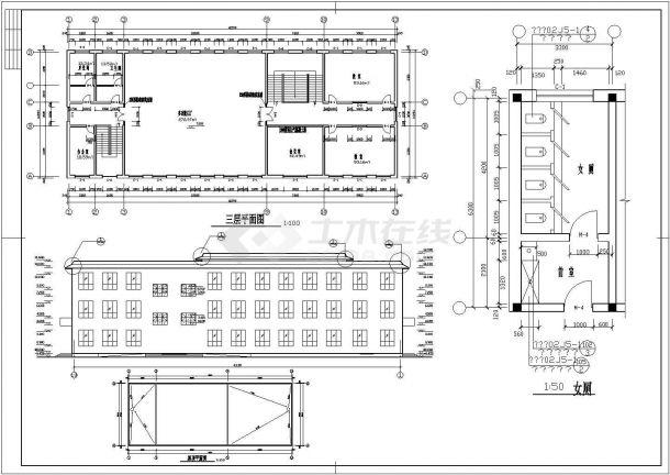 某三层砖混结构综合教学楼(高11米)设计cad建筑方案图(含结构设计)-图二