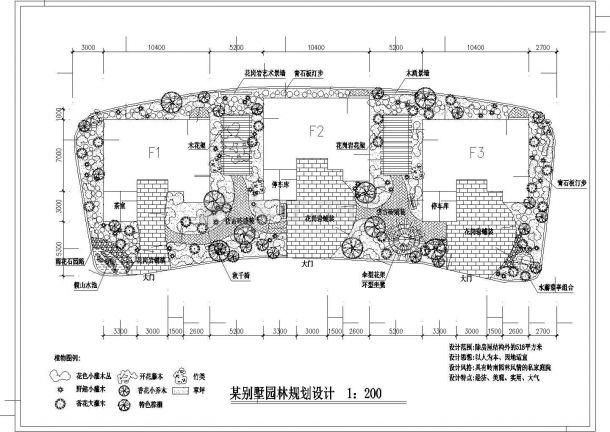 某私家别墅花园绿化规划设计cad总平面施工图纸(含设计说明)-图一