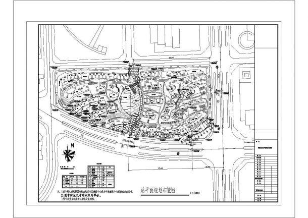 颐园居住区详细规划设计cad总平面施工图(含技术经济指标)-图一