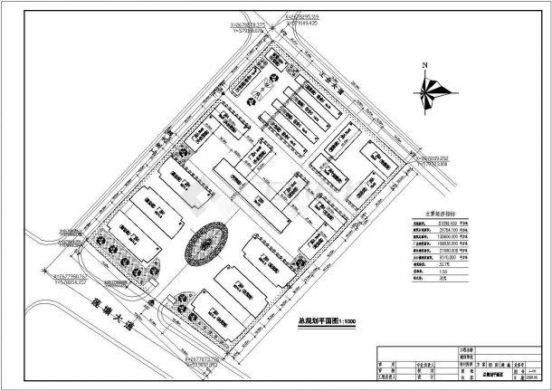 某高档住宅小区详细规划设计cad总平面方案图(含主要经济指标,含2套方案设计)-图一