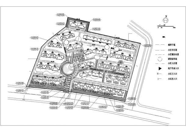 某大型高档多层住宅小区详细规划设计cad总平面施工图(含经济技术指标)-图一