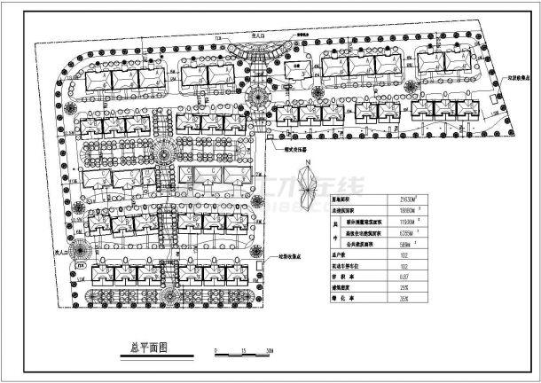 某生态住宅小区详细规划设计cad总平面施工图(含经济技术指标)-图一
