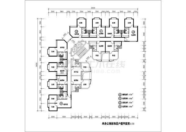 某1楼2电梯12户单身公寓标准层设计cad户型平面图-图一