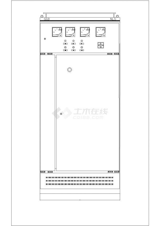 典型GGD型固定式低压开关柜壳体设计cad外形图-图二