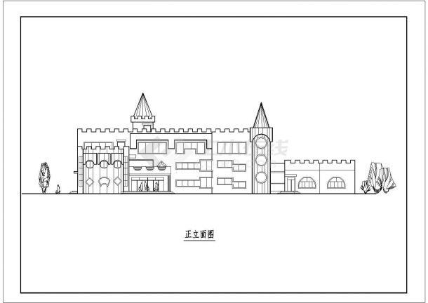 6班3层1685.5平米幼儿园建筑方案cad设计图纸-图二