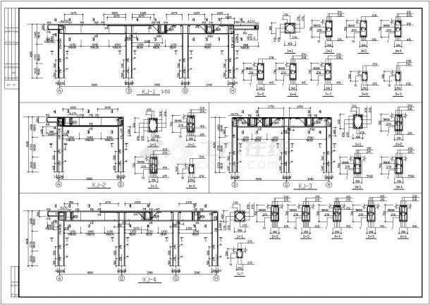 六层办公楼底框结构施工CAD图-图二