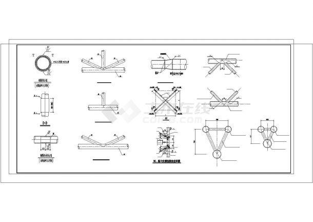 完整钢管桁架施工详图、节点图cad-图二
