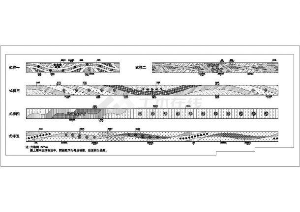 某市政道路绿化规划设计cad平面方案大样图(含5种式样设计)-图一