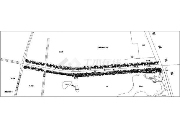 某市政道路标准段景观绿化规划设计cad总平面方案图-图二