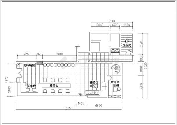 江西省沙坪坝网通营业厅整体装修设计CAD图纸-图二