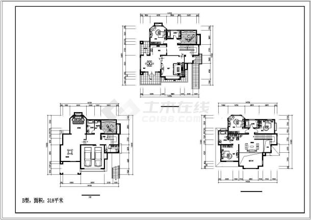 单家独院式别墅建筑设计施工图-图二