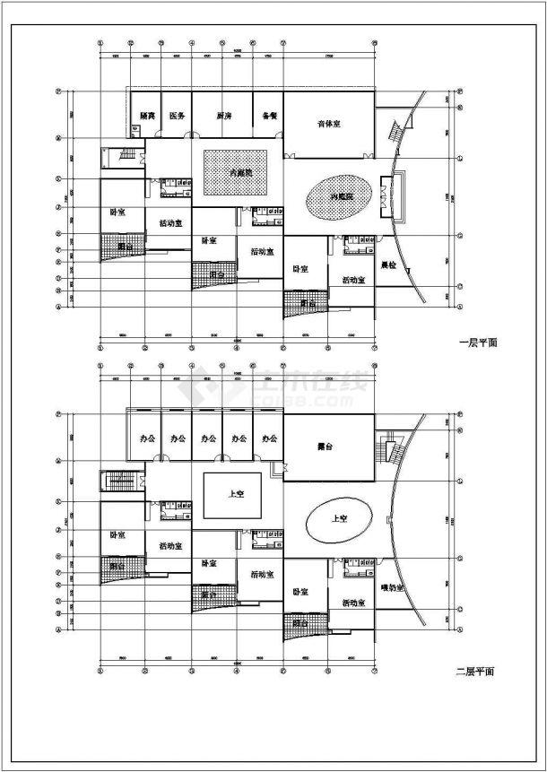 9班:3层幼儿园建筑方案cad设计图-图一