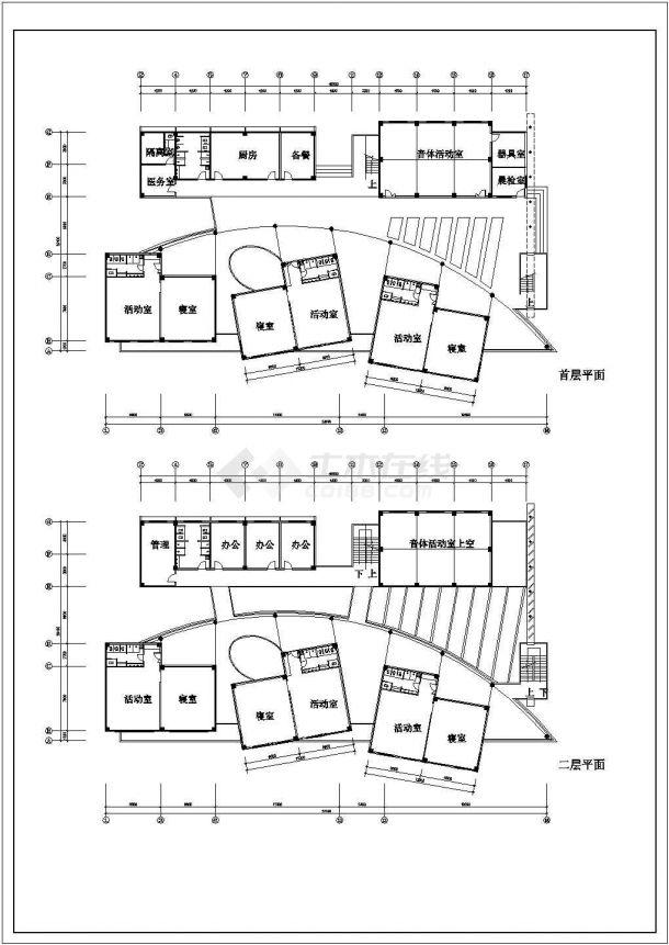 9班:3层幼儿园建筑方案cad设计图-图二