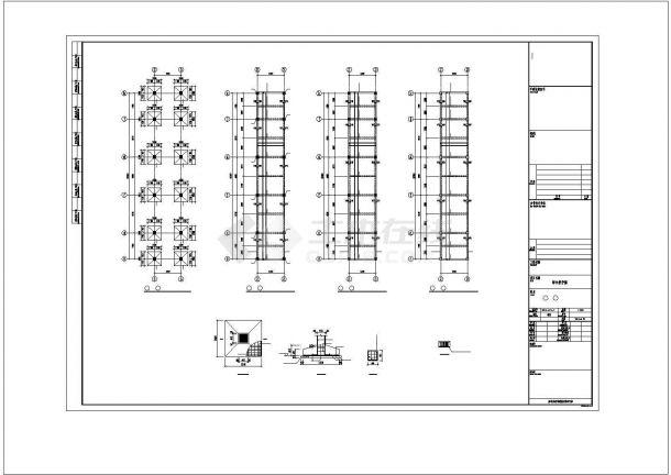 某中学连接各栋楼连廊结构设计施工CAD图纸-图一