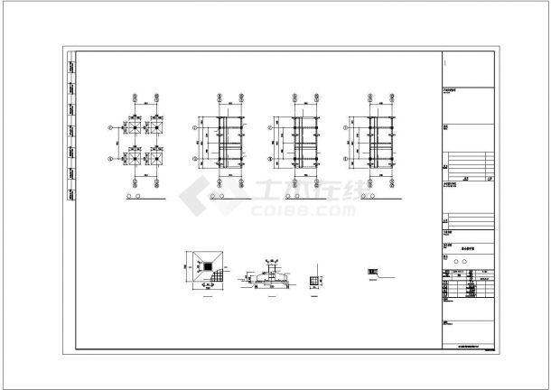 某中学连接各栋楼连廊结构设计施工CAD图纸-图二