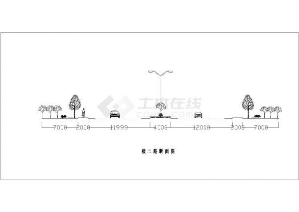 某城市主要道路绿化规划设计cad施工详图-图二