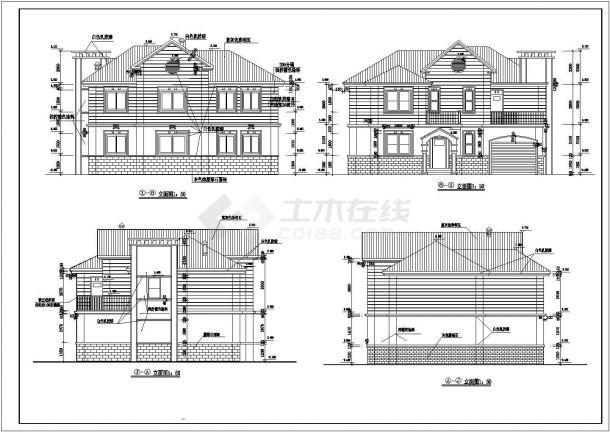 某地区欧式独立式别墅方案设计施工CAD图纸(含效果图)-图一