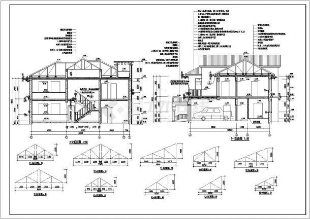 某地区欧式独立式别墅方案设计施工CAD图纸(含效果图)-图二