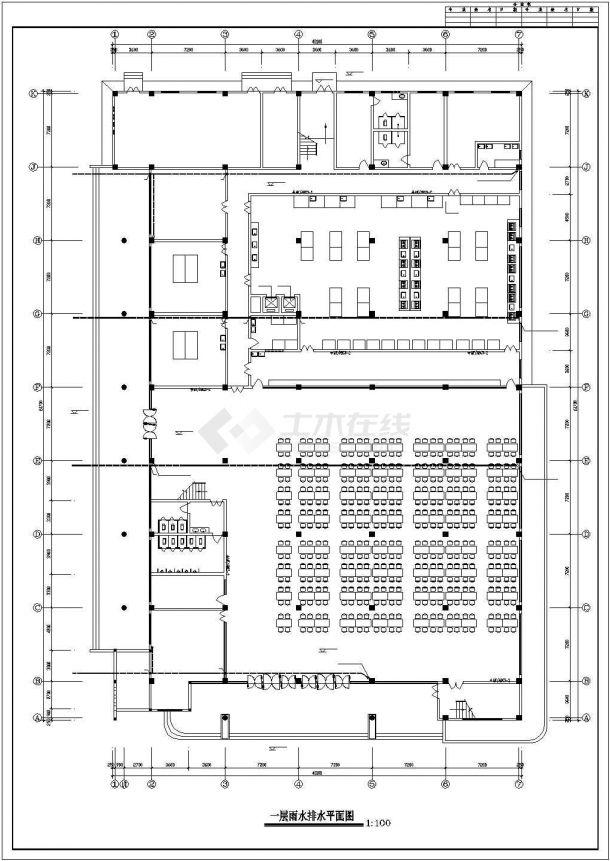 某学生食堂给排水CAD设计图纸-图二