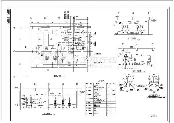 某制冷机房设计cad大样图(含新风机房设计)-图一