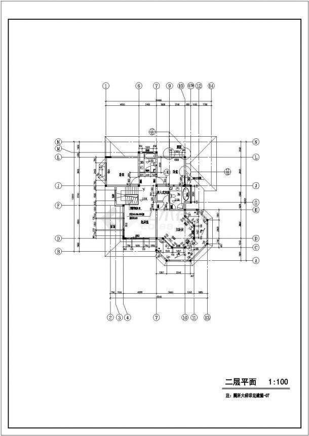 330平米左右2层砖混结构单体中式别墅建筑设计CAD图纸-图一